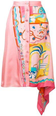 La Villa Print Asymmetric Silk Skirt
