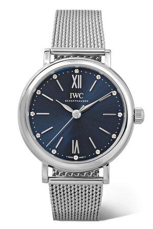 IWC SCHAFFHAUSEN   Portofino Automatic 34mm stainless steel and diamond watch   NET-A-PORTER.COM