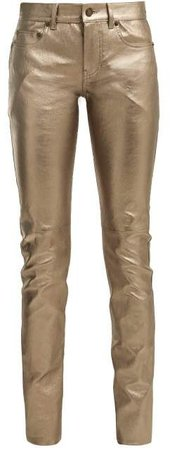 Metallic Leather Trousers - Womens - Bronze
