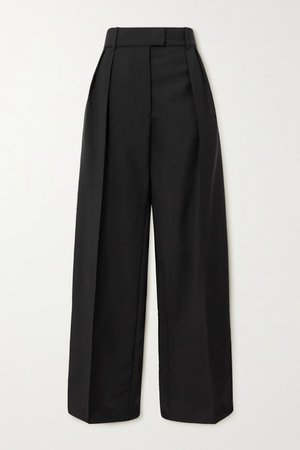 Pleated Mohair And Wool-blend Wide-leg Pants - Black
