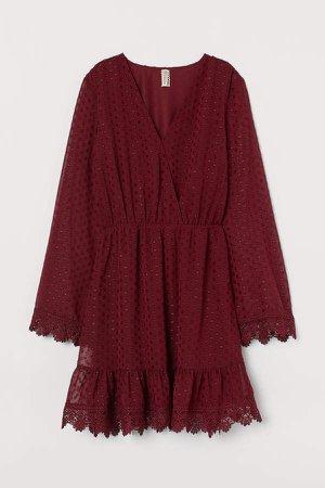 Plumeti Chiffon Dress - Red