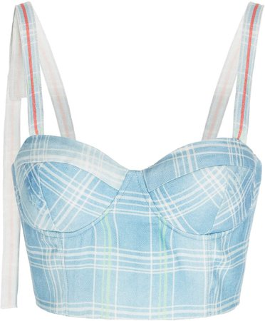 Rosie Assoulin Plaid Linen Bustier Cropped Top Size: 0