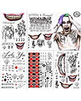 Amazon.com: The Joker Temporary Tattoos from Suicide Squad - Perfect for Cosplay, Costumes and Halloween: Clothing