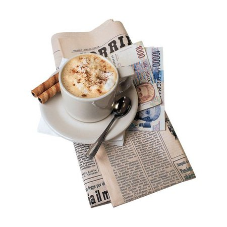 Coffee on newspapers