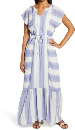 Print Flutter Sleeve Maxi Dress
