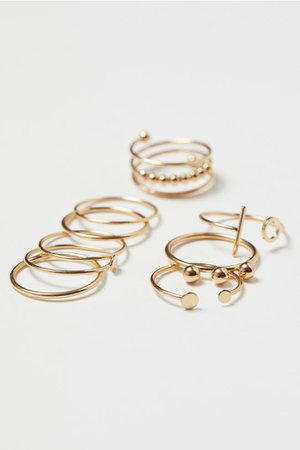 9-pack Rings - Gold-colored - Ladies | H&M US