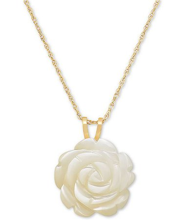 "Macy's Mother-of-Pearl Rose 18"" Pendant Necklace in 10k Gold"