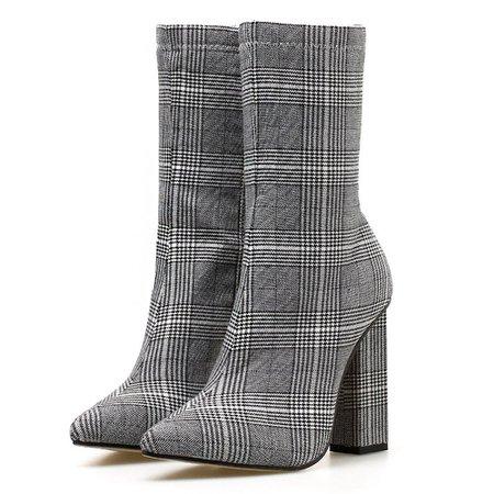 Женские ботильоны молния острым обувь На высоких толстых каблуках женские ботинки обувь для вечеринок купить на AliExpress