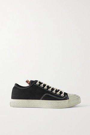 Distressed Canvas Sneakers - Black