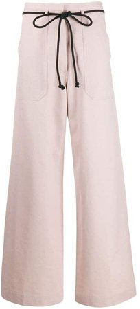 drawstring flared trousers