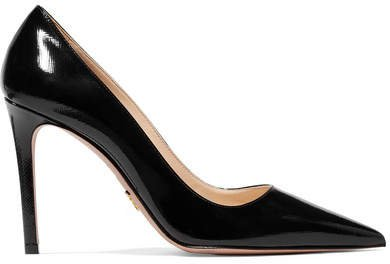 100 Glossed Textured-leather Pumps - Black