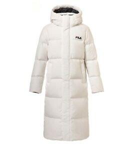 Fila Ace 2 de comprimento para baixo Branco Goose Down Jacket Casaco Longo Acolchoado Parka Acolchoada | eBay
