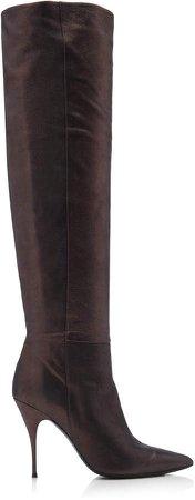 Metallic Leather Stiletto Boots
