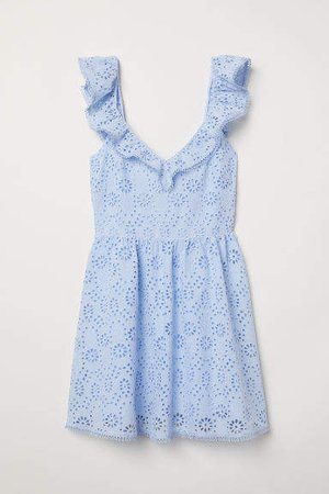 Embroidered Dress - Blue