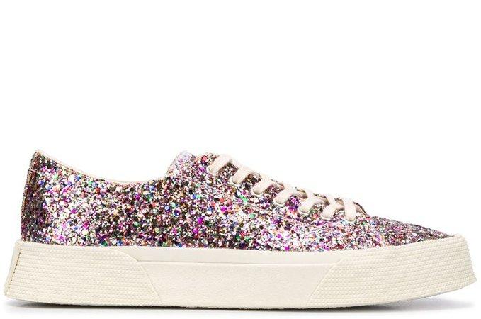 Flatform Glitter-Embellished Sneakers