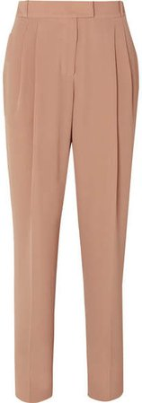 Crepe High-rise Slim-leg Pants - Taupe