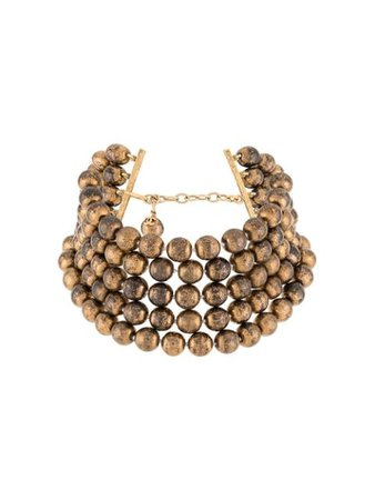Shop brown Chanel Pre-Owned 1990s beaded choker necklace with Express Delivery - Farfetch