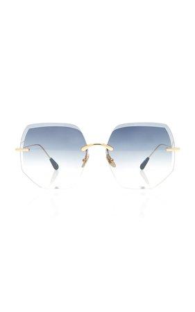 Kaleos Eyehunters Brand Round-Frame Gold-Tone Sunglasses
