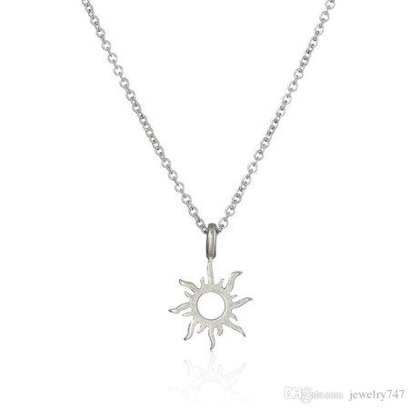 Silver Sun Rays Pendant Necklace