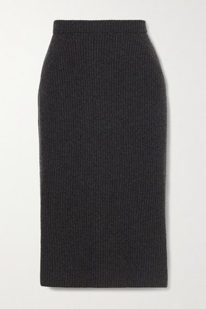 Ribbed Cashmere Midi Skirt - Dark gray
