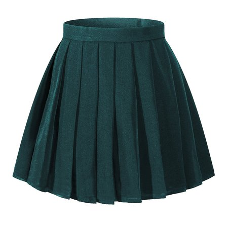 High Waisted Pleated Skirt - Dark Green