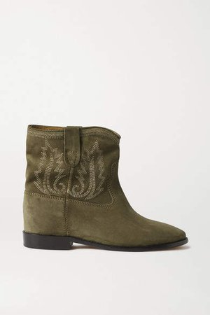 Crisi Embroidered Suede Ankle Boots - Army green