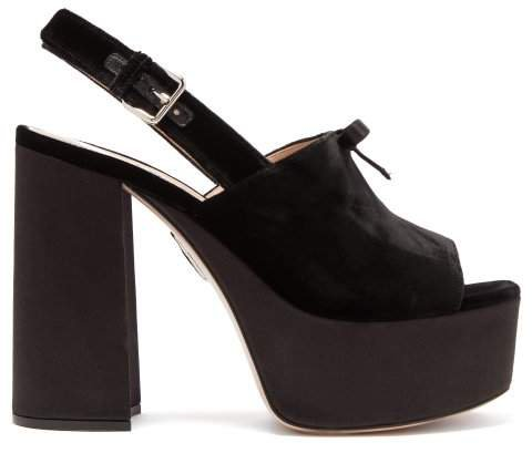 Peep Toe Velvet Platform Sandals - Womens - Black