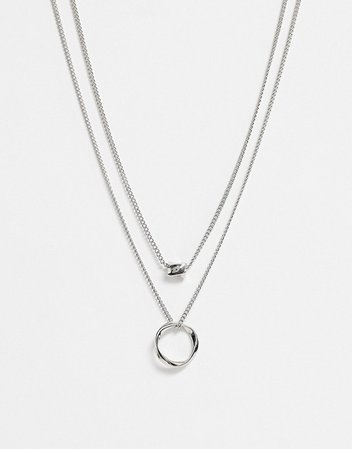 ASOS DESIGN multirow necklace twisted nugget bead and hoop in silver tone | ASOS