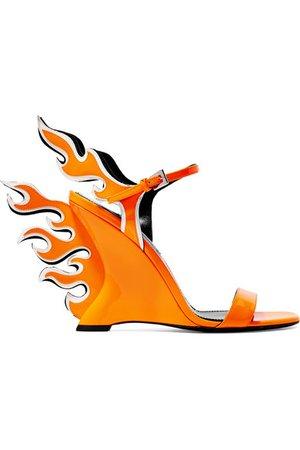 Prada | Neon patent-leather wedge sandals | NET-A-PORTER.COM