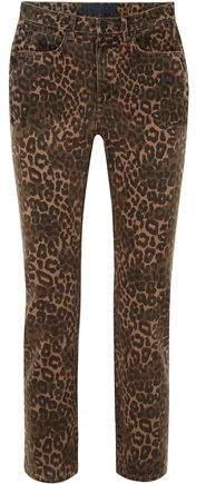 Cropped Leopard-print Mid-rise Slim-leg Jeans