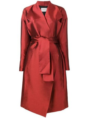 Poiret Belted Trench Coat 18521104182 Red | Farfetch