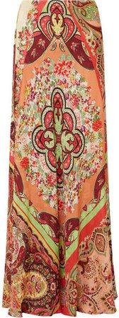 Printed Satin-jacquard Maxi Skirt - Coral