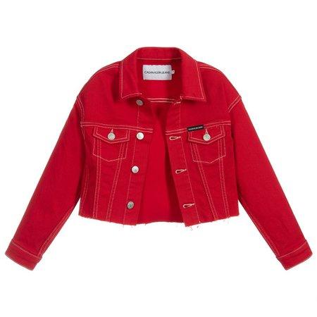 Calvin Klein Jeans - Girls Red Denim Jacket | Childrensalon