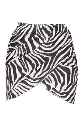 Zebra Print Print Woven Drape Front Mini Skirt | PrettyLittleThing USA