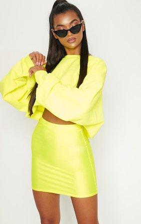 Neon Yellow Disco Mini Skirt | Skirts | PrettyLittleThing
