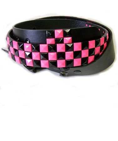 Hot Pink/Black Checkerboard Studded Belt - Candy Apple Costumes - 80's Accessories
