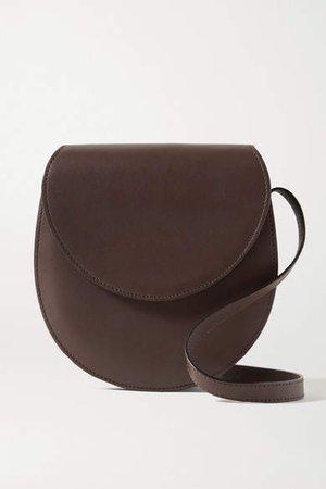 Leather Shoulder Bag - Dark brown