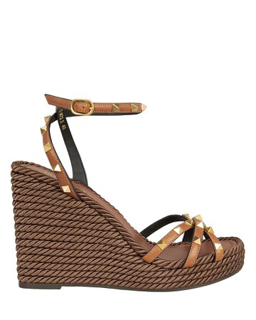 Rockstud Braided Wedge Sandals