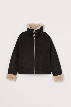 Faux Fur-lined Jacket - Black