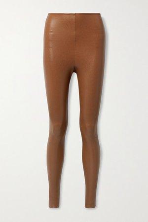 Faux Stretch-leather Leggings - Tan