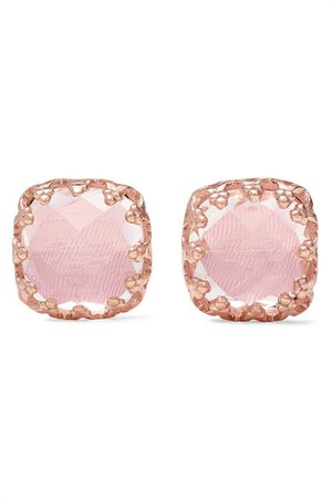 Larkspur & Hawk | Jane small 18-karat rose gold-dipped quartz earrings | NET-A-PORTER.COM