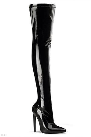 """Pleaser 5"""" Heel Patent Stretch Thigh High Boot"""
