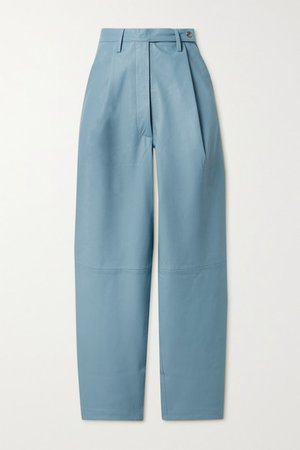 Cleo Pleated Leather Tapered Pants - Light blue