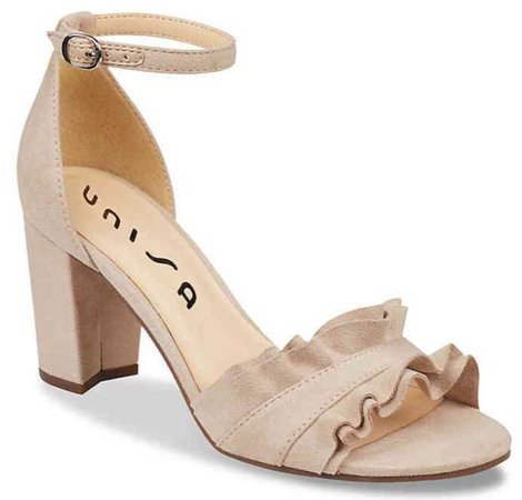 women's tan ruffle block heel sandal