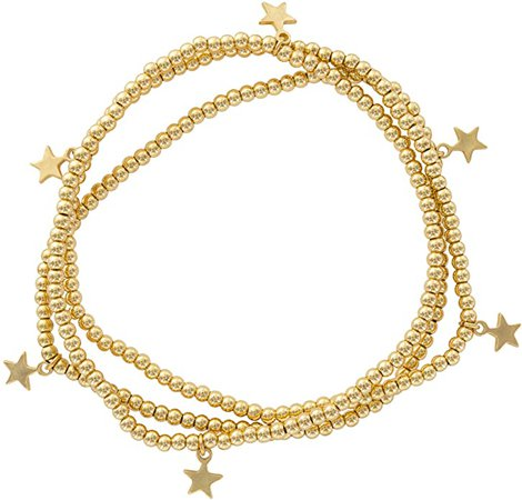 Amazon.com: And Lovely 14K Gold Plated Bead Stretch Bracelet with 14K Gold Plated Star Charm - Stackable Stretch Bracelet - Set of 3 (Gold): Jewelry