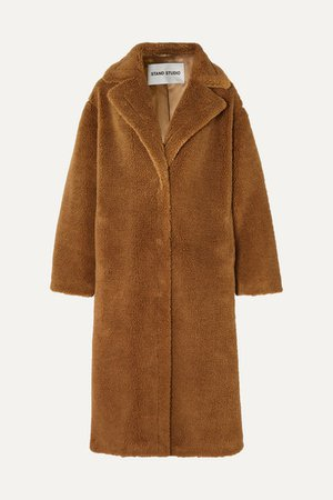 Maria Cocoon Oversized Faux Shearling Coat - Brown