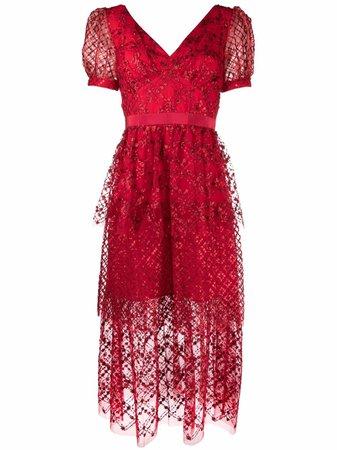 Self-Portrait sequin-embellished midi dress