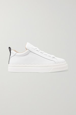 Lauren Scalloped Leather Sneakers - White