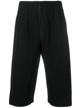 Homme Plissé Issey Miyake ribbed cropped trousers black HP08JF113 - Farfetch