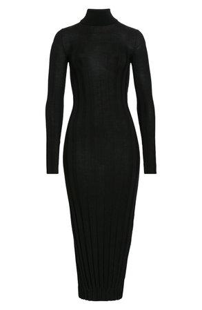 Khaite Ribbed Long Sleeve Wool Sweater Dress | Nordstrom